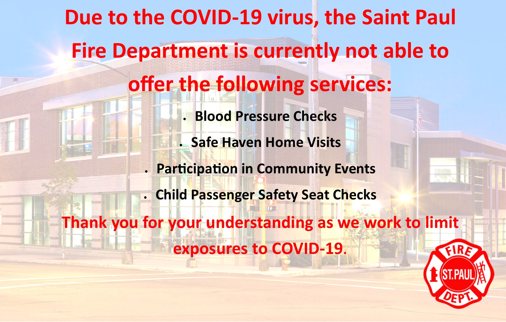 COVID-19 Svc not currently offered