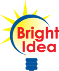 Logo of a light bulb with the text Bright Idea