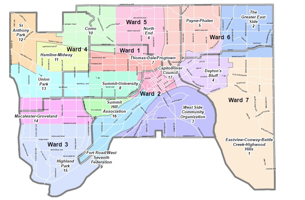 Map of Saint Paul district council and City Council ward boundaries