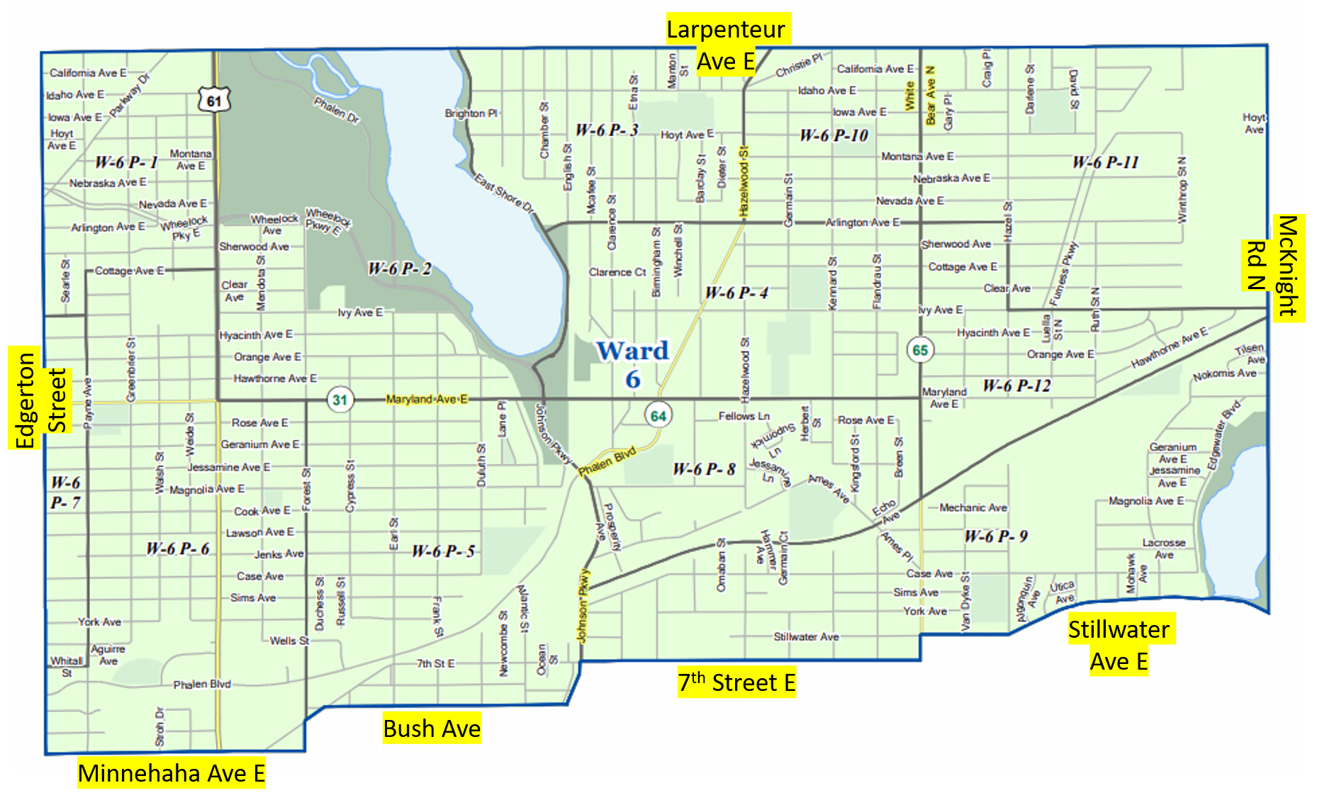 Map of Saint Paul's Ward 6, showing boundary streets. North boundary is Larpenteur Avenue. East boundary is McKnight Road. South boundaries are Minnehaha Avenue East, Bush Avenue, 7th Street East, and Stillwater Avenue. West boundary is Edgerton Street.