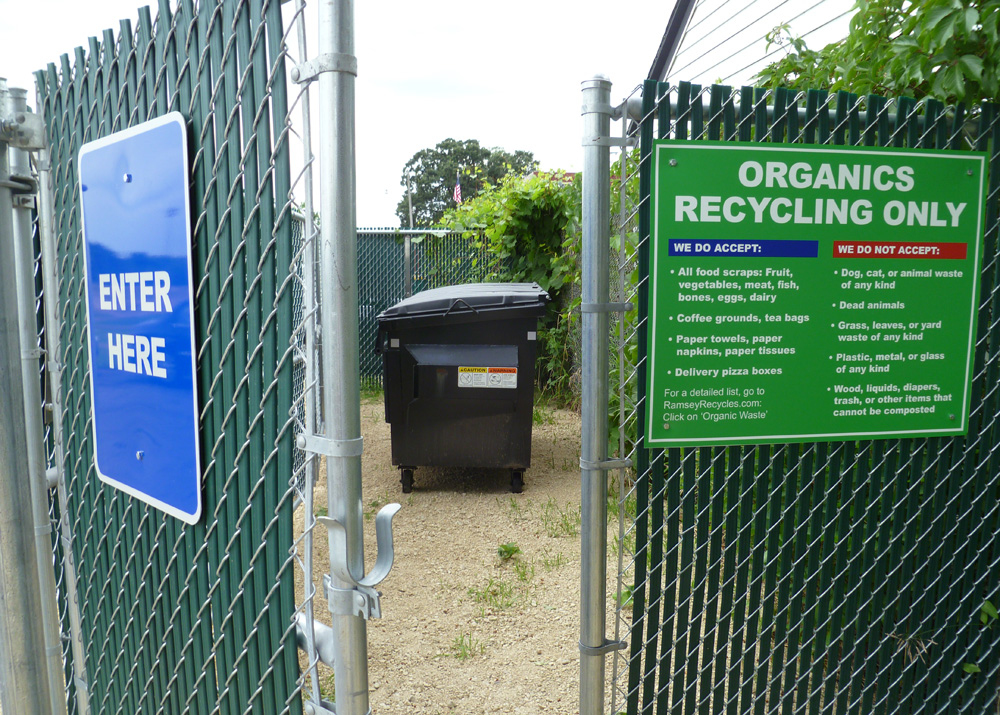 Gates at entrance to an organics recycling drop-off site