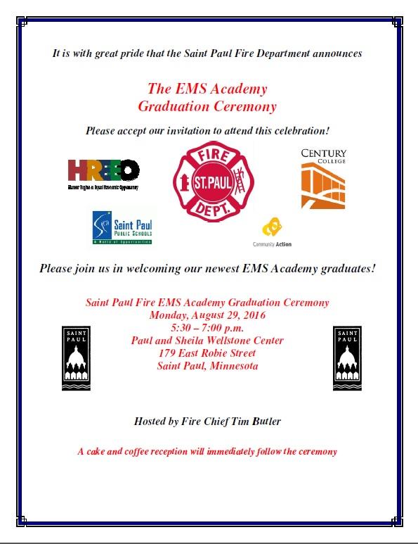 Summer 2016 EMS Academy Graduation Invitation