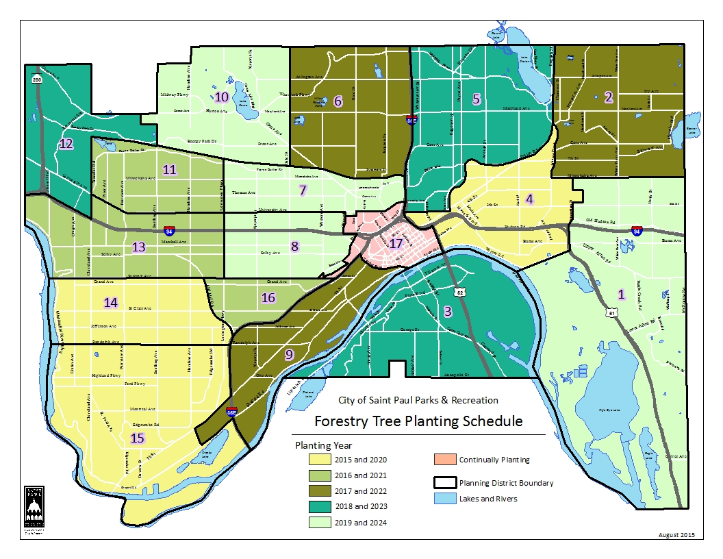 Boulevard tree planting schedule map by planning district for years 2015 - 2024