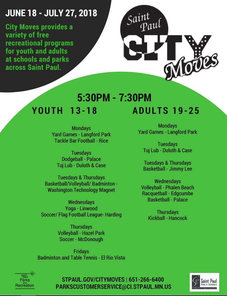 2018 City Moves Recreation Schedule
