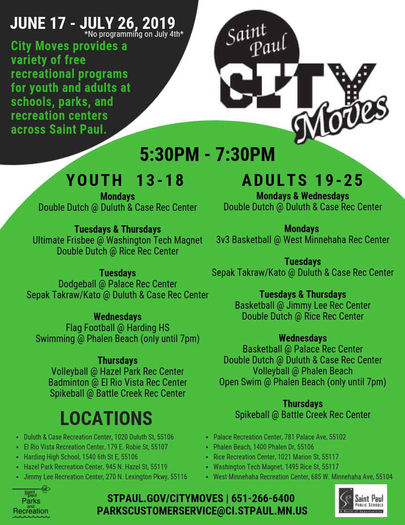 City Moves 2019 schedule flyer