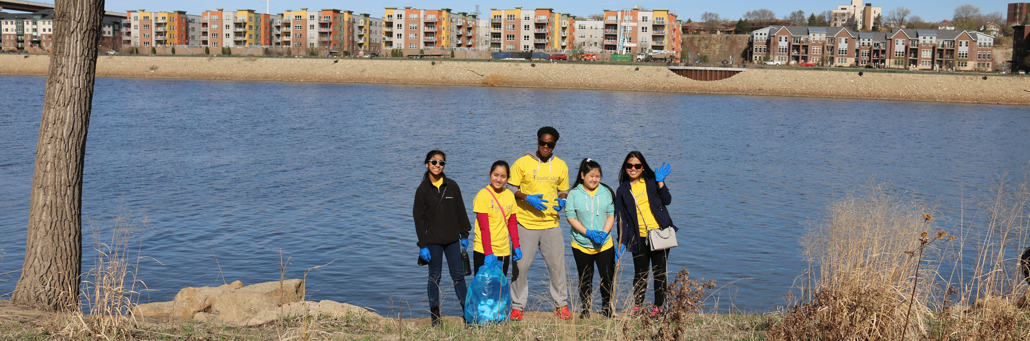Volunteers with trash at the Citywide Cleanup.