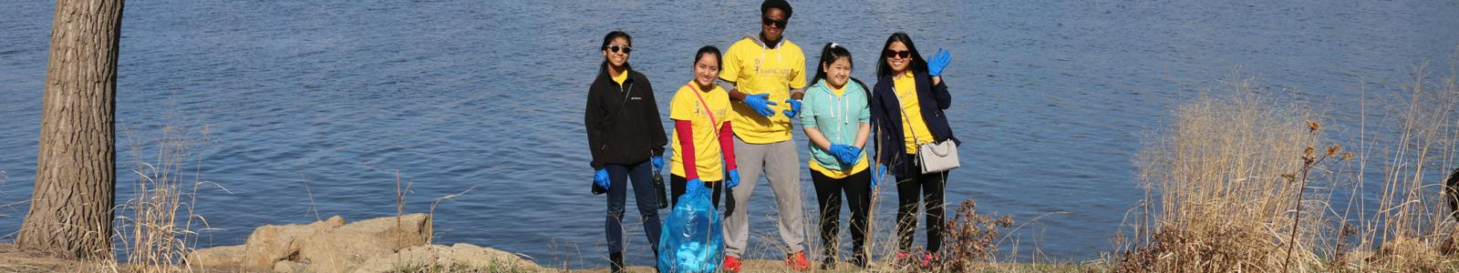 Volunteers cleaning up Harriet Island