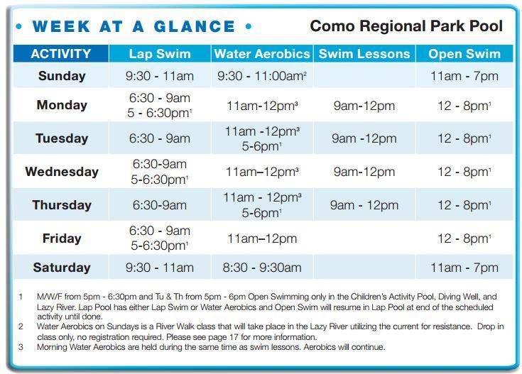 Como Regional Park Pool Summer 2016 Hours