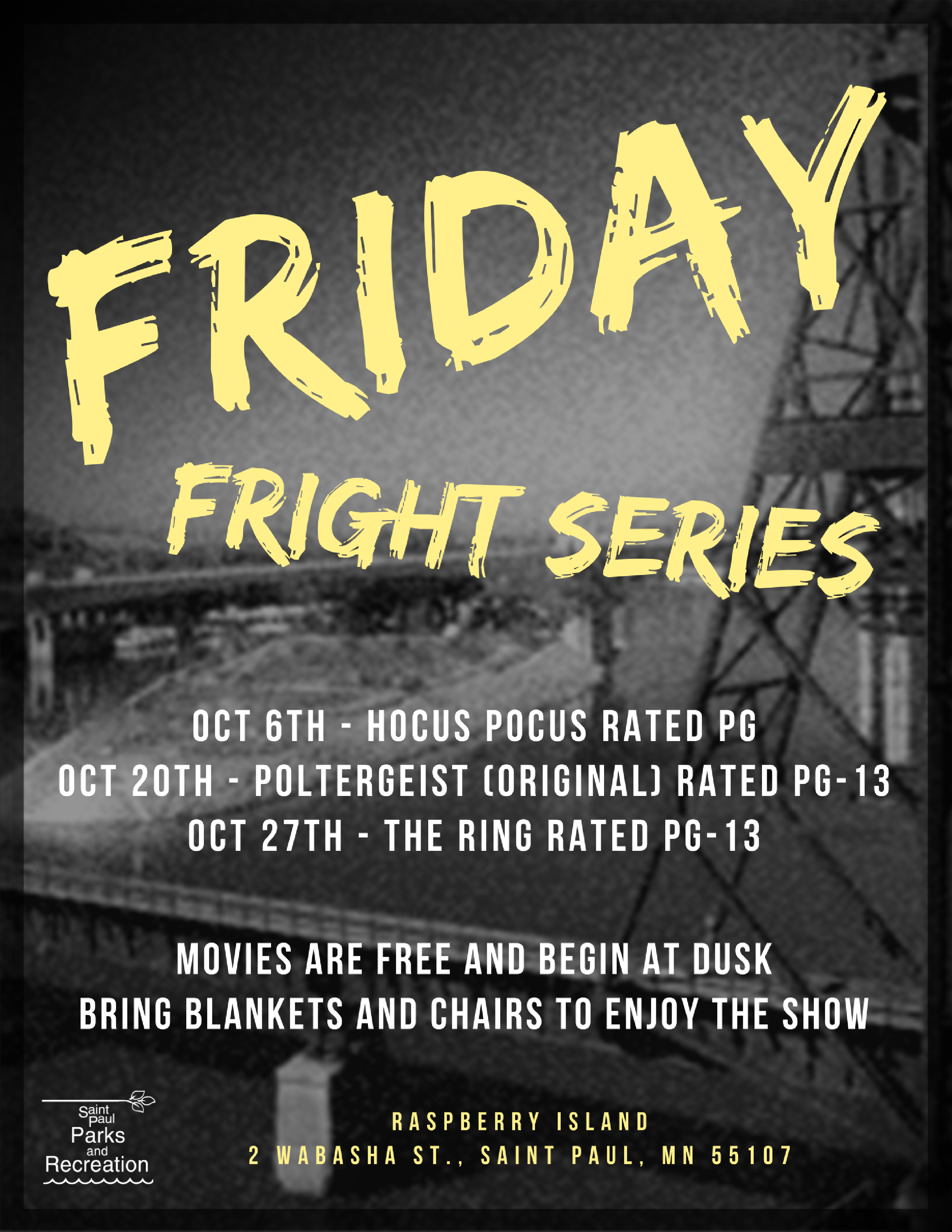 Parks Friday Fright Series Flyer 2017