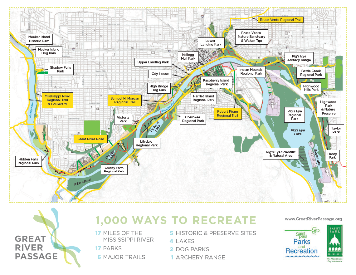 Map of Great River Passage parks and trails