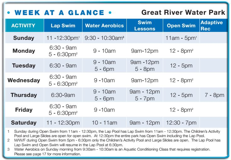 Great River Water Park Summer Hours 2016