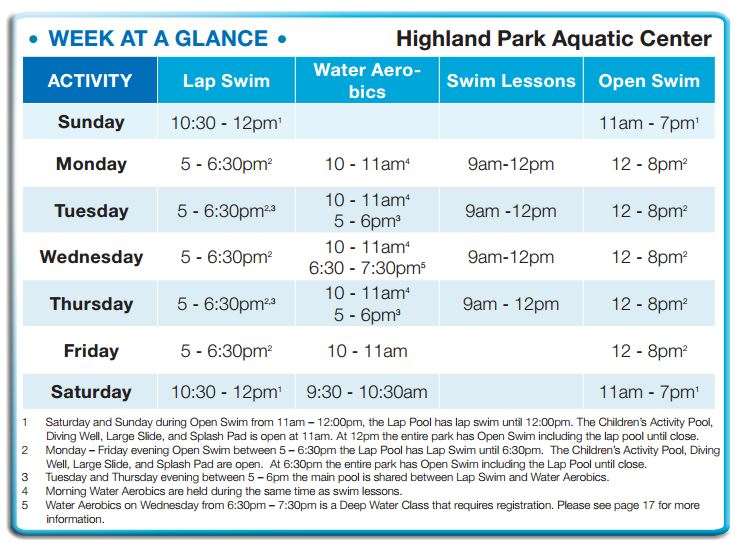 Highland Park Aquatic Center Summer Hours