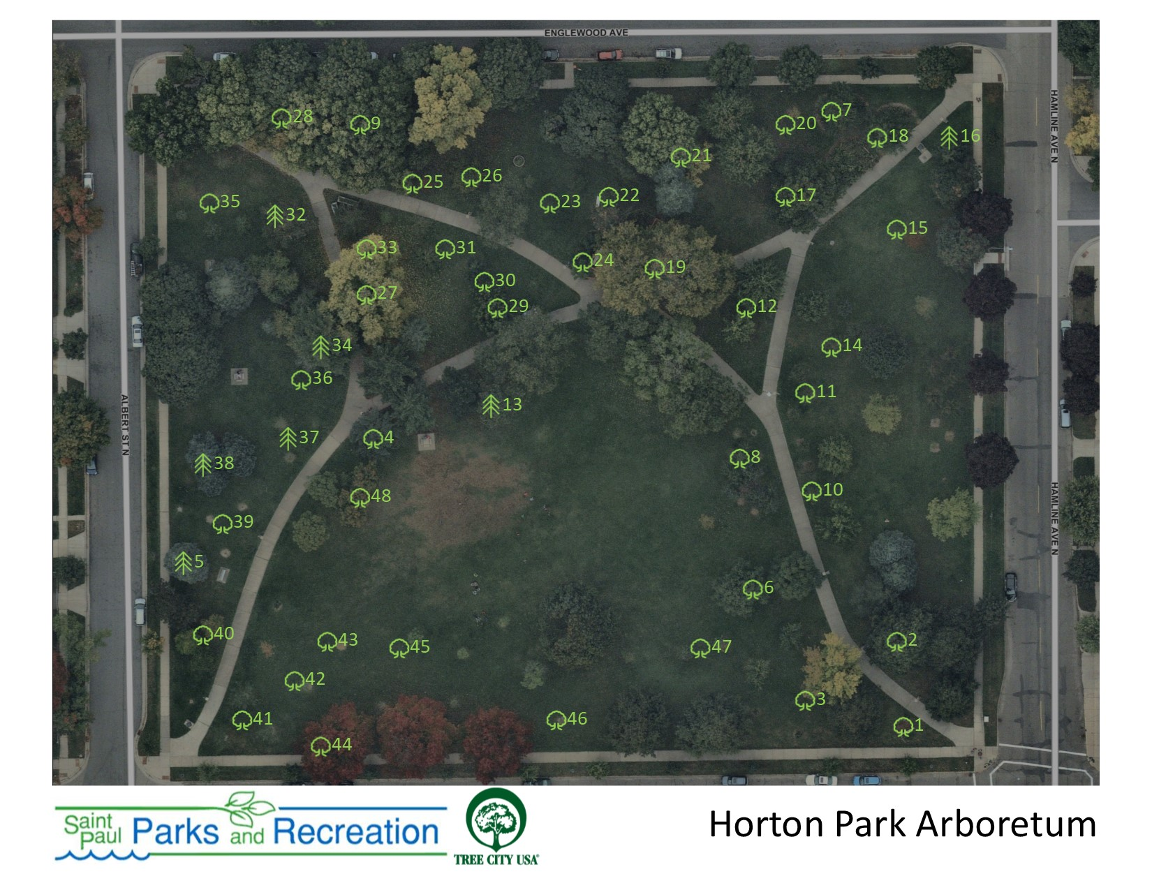 Horton Park Arboretum Map