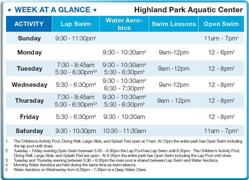 Highland Park Aquatic Center 2017 Hours
