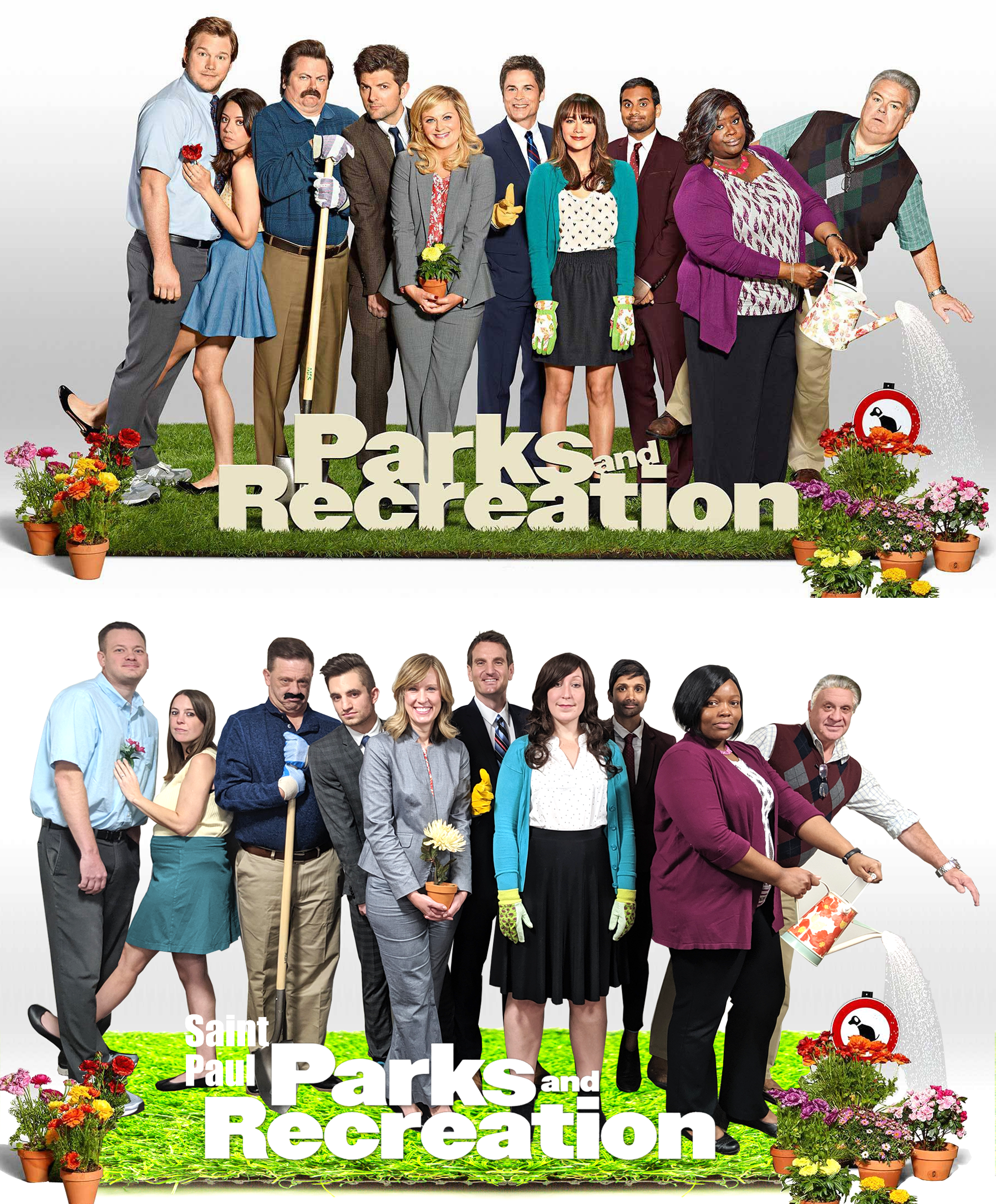 Saint Paul Parks and Recreation staff dressed up as the cast of the TV show Parks and Recreation.