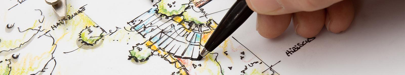Designer working on plans for a new park