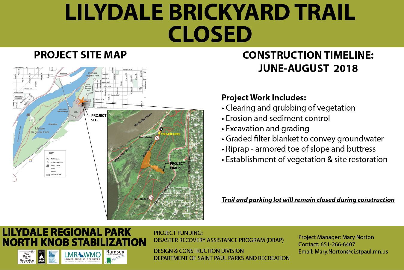Brickyard Trail Closed for Construction