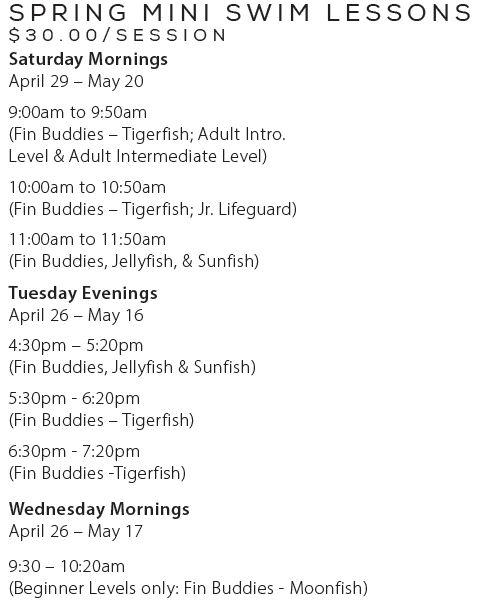 spring mini swim lessons