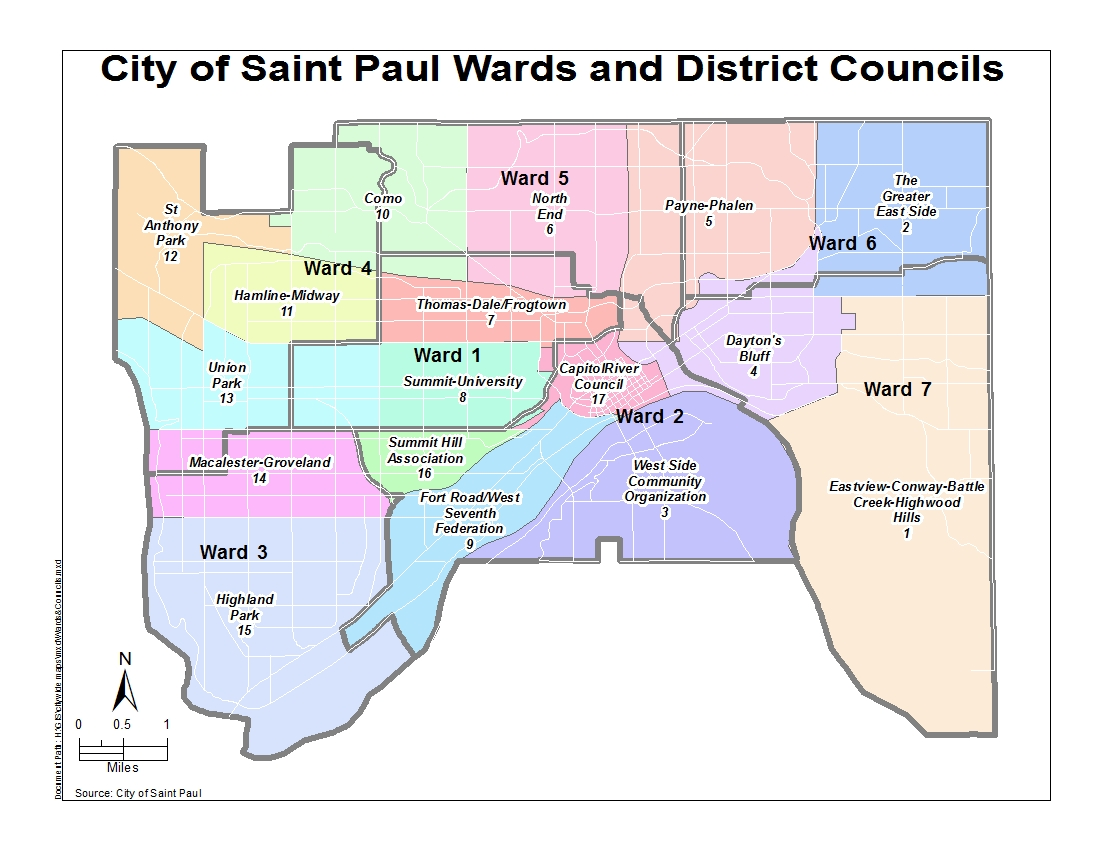 Map of the City of Saint Paul Wards and District Councils