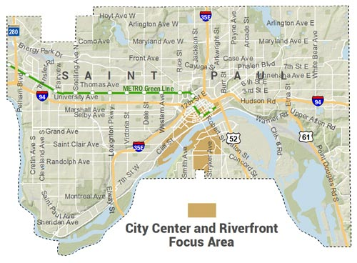 Locator Map for City Center and Riverfront Focus Area - including West Seventh riverward of 7th St from Saint Clair north, downtown generally riverward of 7th with some exceptions, and West Side from Robert/Stryker to Smith to City Limits