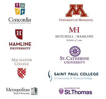 Colleges and Universities Logos: Concordia University, Hamline University, Macalester College, Metropolitan State University, University of Minnesota, Hamline Mitchell School of Law, Saint Catherine University, Saint Paul College, University of St. Thomas