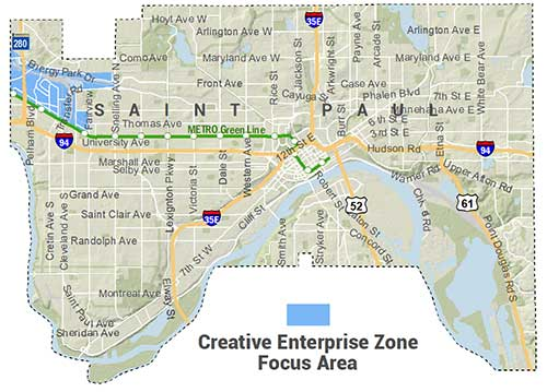 Map showing location of Creative Enterprise Zone, which is focused on western edge of city between roughly University Avenue, Transfer Road, and areas on either side of Energy Park Drive to the western city border.