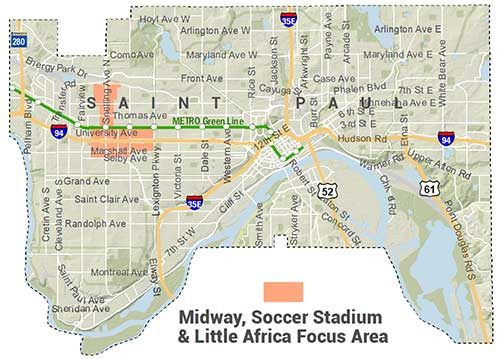 Locator Map showing Midway, Soccer Stadium & Little Africa Focus Area: Roughly Selby to University Ave, Aldine to Lexington, along with two blocks on either side of Snelling from University to Pierce Butler Route
