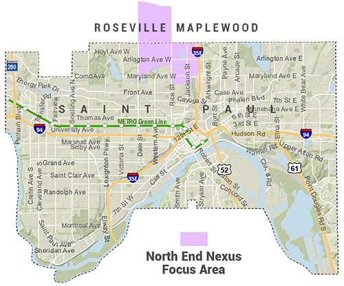 Locator Map showing North End Nexus Focus Area: Extending in Saint Paul from roughly Maryland to Larpenteur, Dale to I-35E, and in Roseville from roughly Larpentuer to MN-36 and Dale to Rice