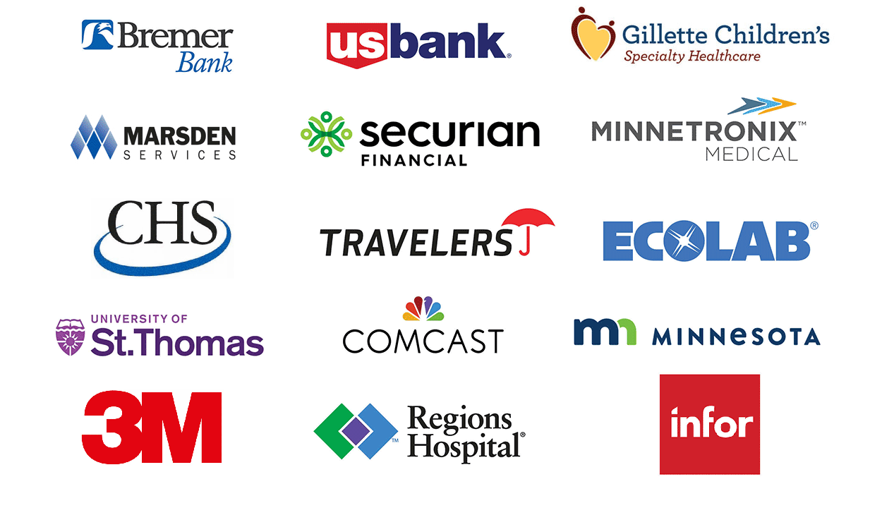 Logos of St. Paul Companies: Bremer Bank, US Bank, Ecolab, Gilette Children's Specialty Healthcare, Securian Financial, Merrill Corporation, Region's Hospital, Travelers Insurance, HealtEast Care System, University of St. Thomas, Comcast, State of MN