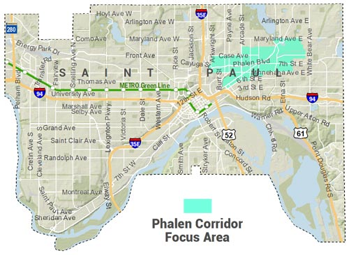 Phalen Corridor Focus Area Map - Straddles Phalen Corridor from roughly Payne Avenue to past Phalen Village, including East 7th area and Hamm's Brewery.