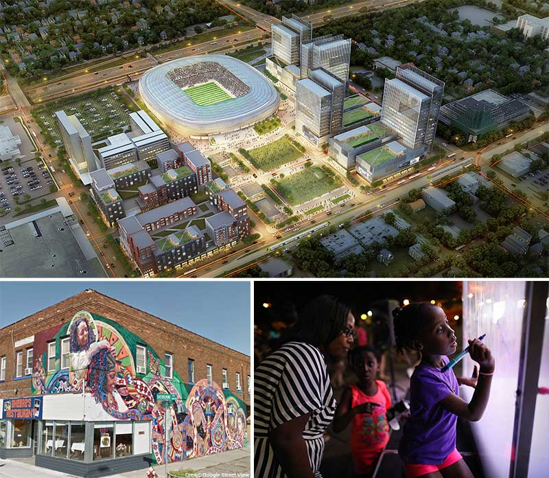 Aerial rendering of Soccer Stadium Site Plan, and photos of mural at Sherburne & Snelling, and girl in Little Africa