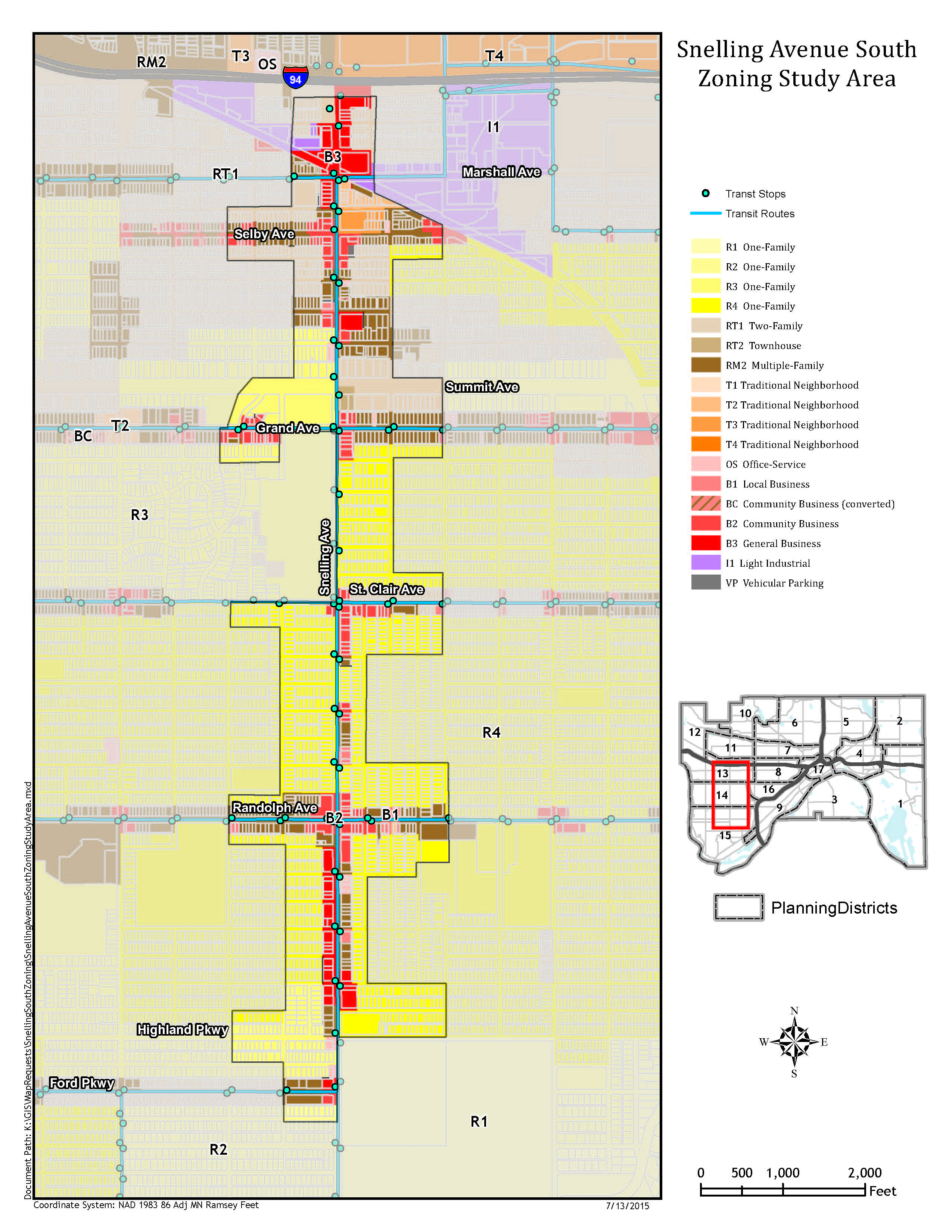 Map of proposed zoning changes for Snelling Avenue South