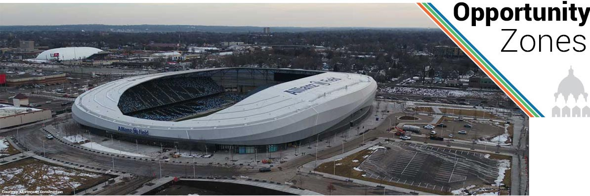An Aerial View of the Allianz Field Soccer Stadium under construction