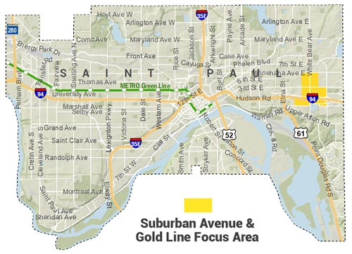 Locator Map for Suburban Avenue & Gold Line Focus Area, which centers on White Bear Avenue & I-94 intersection