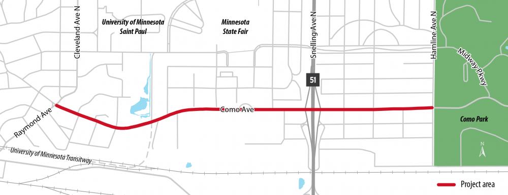 Como Avenue Trail Project Map