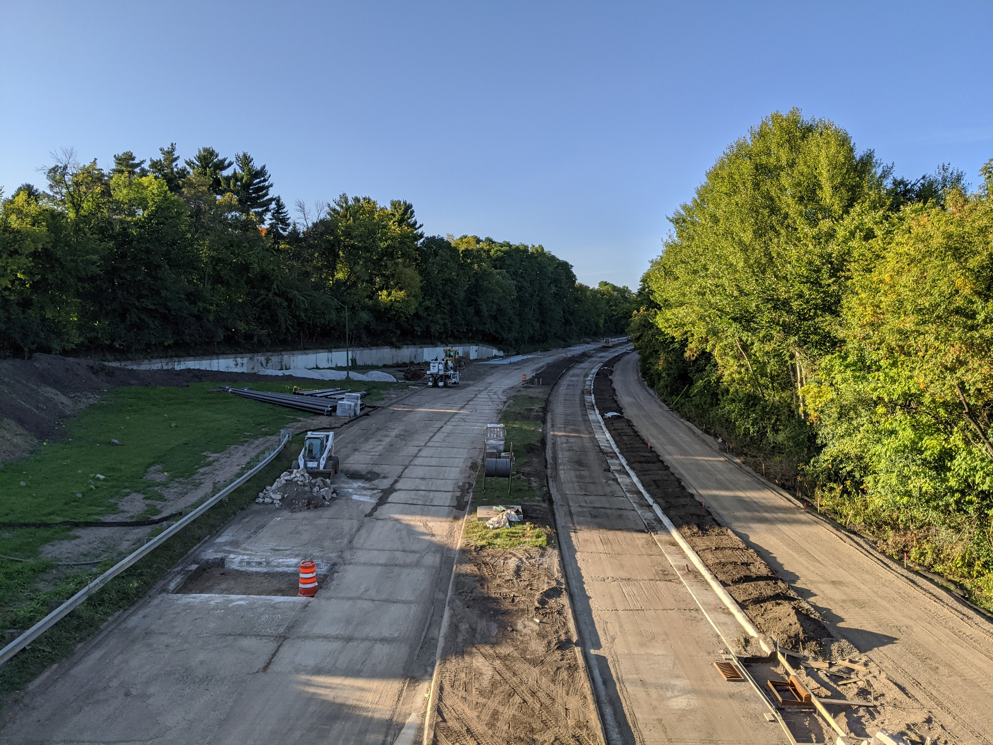 Construction photo of Ayd Mill Road from 9.18.20. Photo shows the northbound view of Ayd Mill Road taken from the St. Clair overpass.