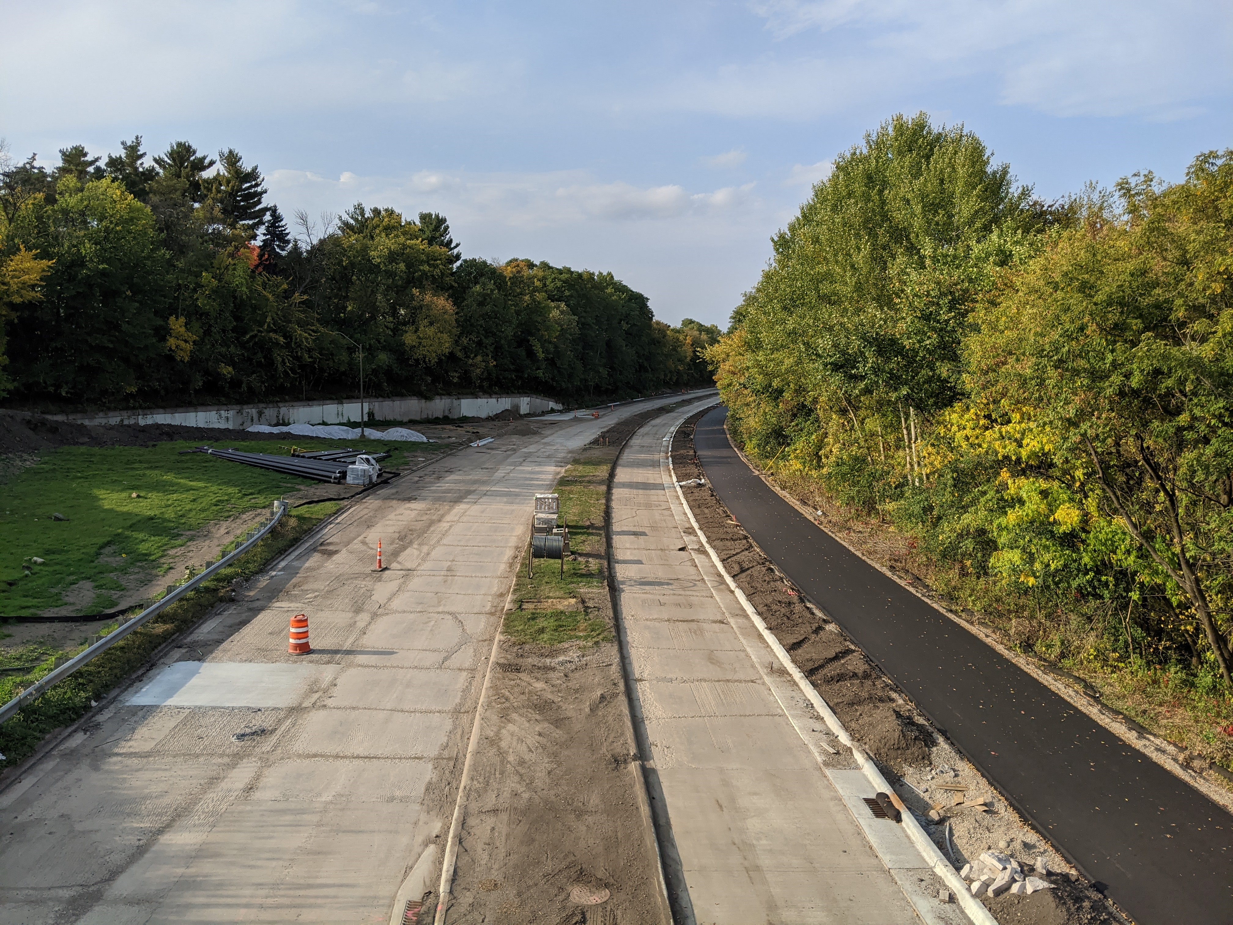 Construction of Ayd Mill Road and the new trail surface showingthenorthbound viewtaken from the St. Clair overpass on 9.25.20.