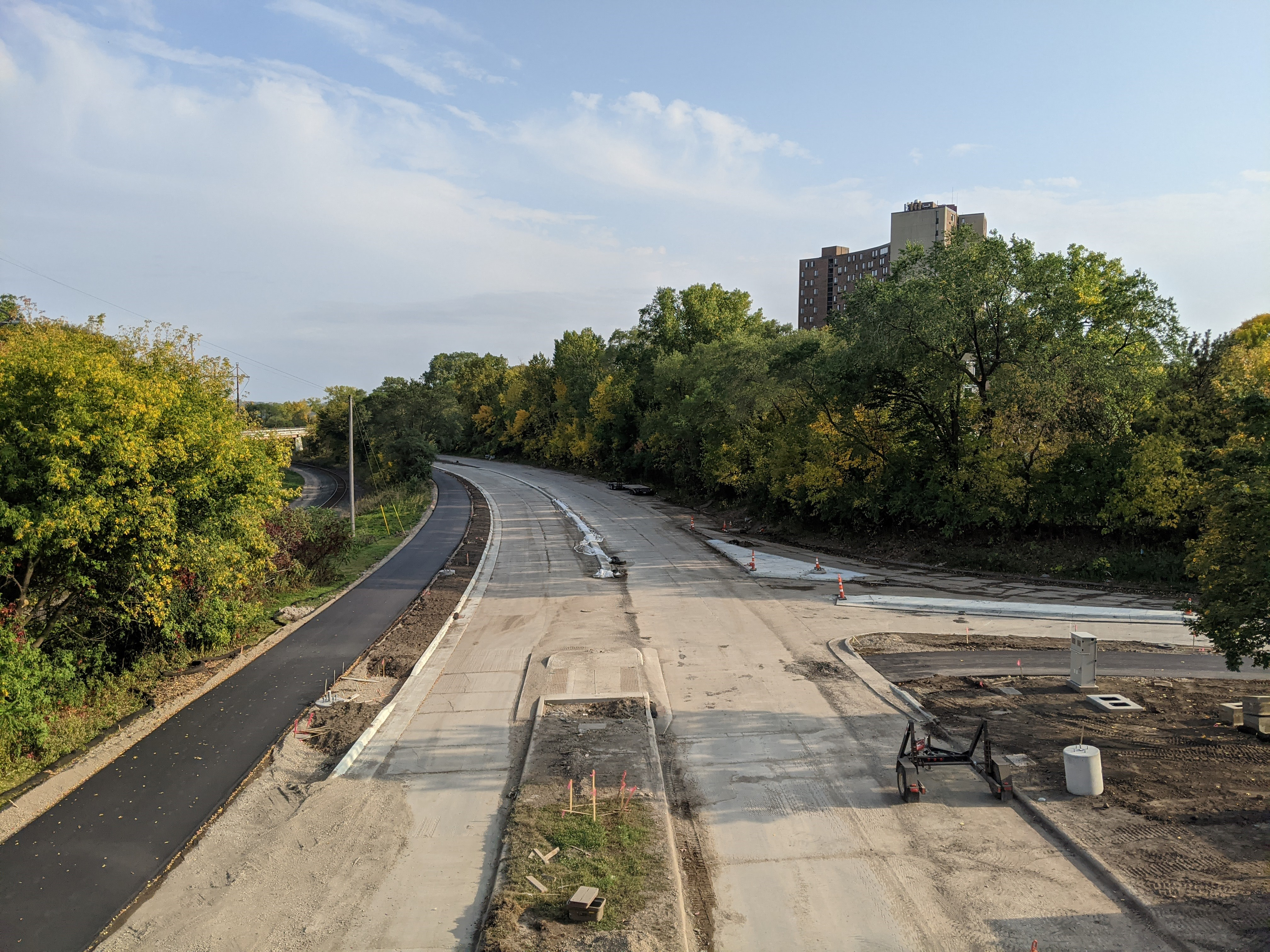 Construction of Ayd Mill Road and the new trail surface showingthe southbound viewtaken from the St. Clair overpass on 9.25.20.