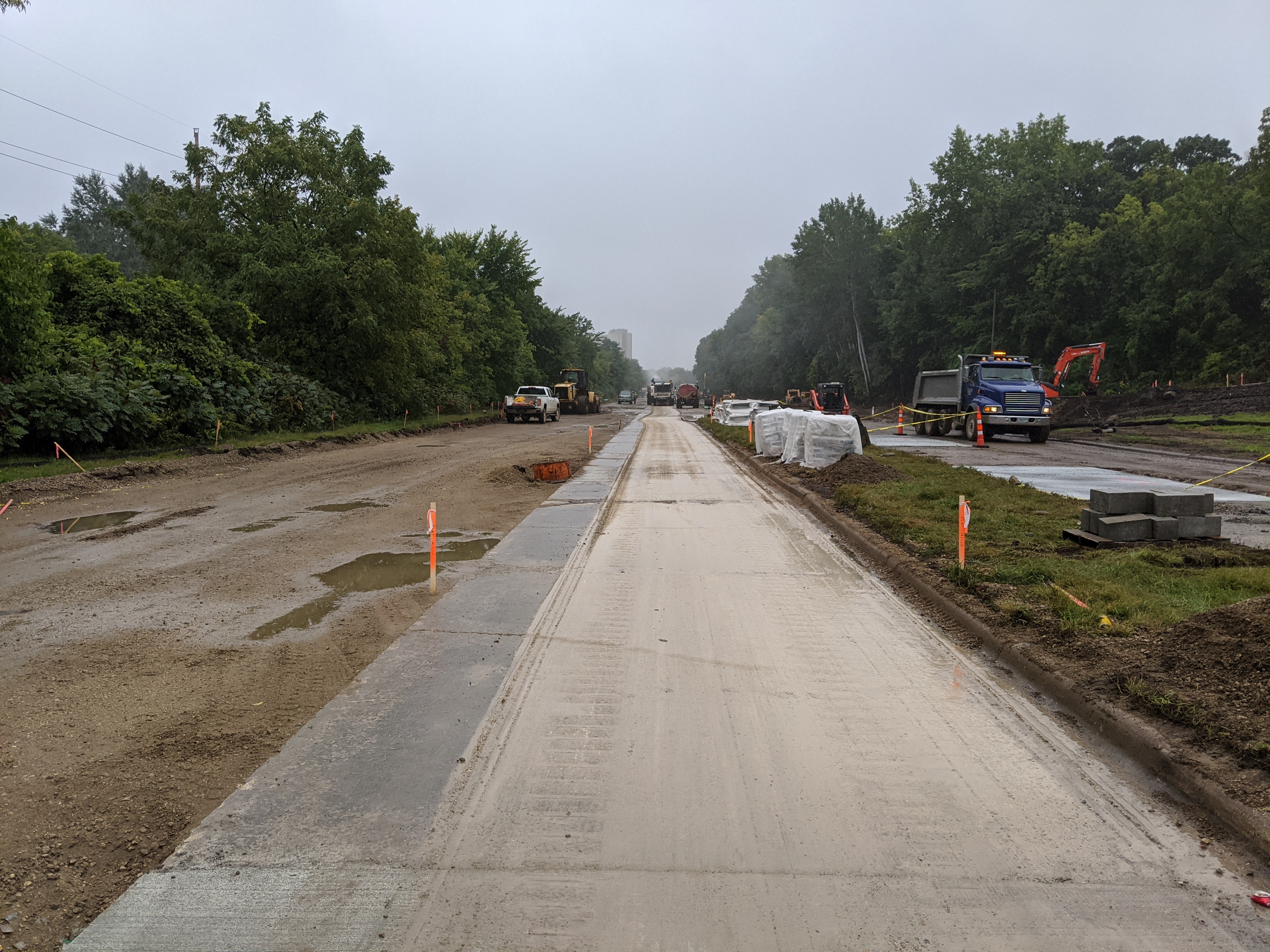 Photo showing the construction of Ayd Mill Road. Photo shows the variable depth concrete milling that was completed as of 9.11.20.