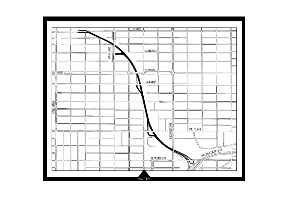 Map showing Ayd Mill Road between Interstate 35E on south end and Selby Avenue on the north end.