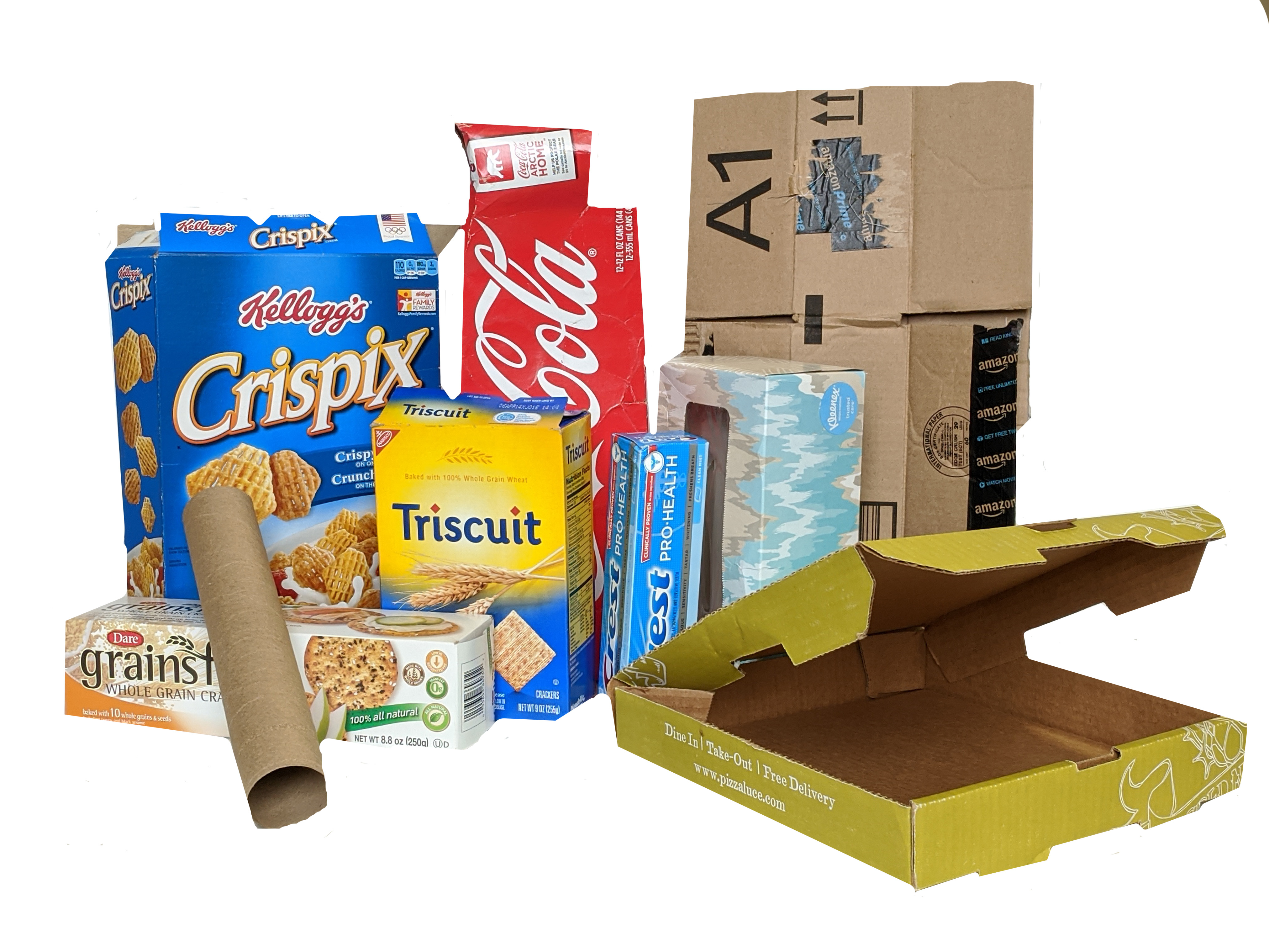 cardboard boxes (cereal box, tissue box, delivery pizza box, toothpaste box, paper towel tube)