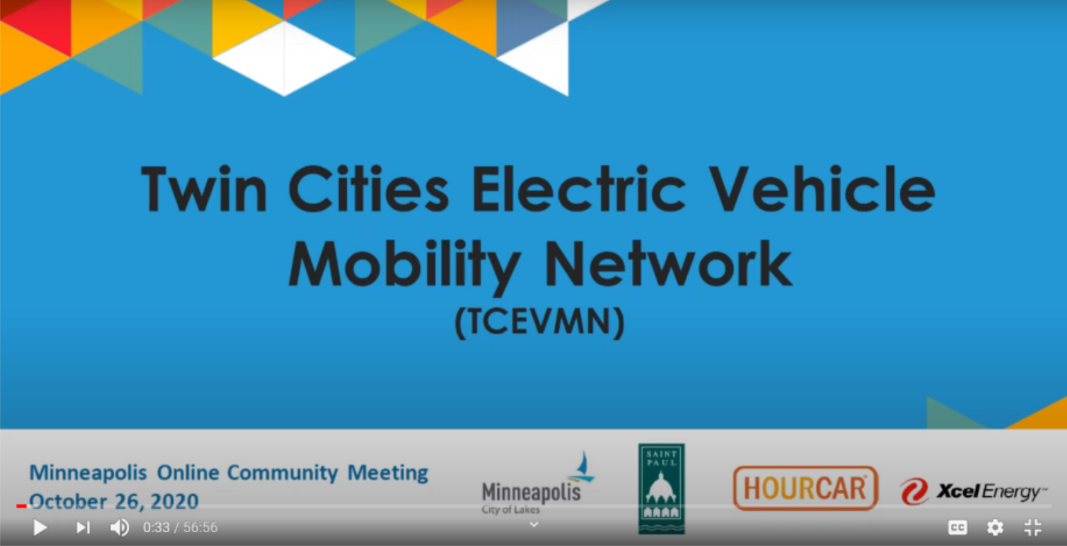 Front page image of the presentation for the Twin Cities Electric Vehicle Mobility Network Minneapolis Online Community Meeting