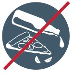 icon indicating no food or liquids allowed in recycling