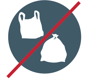 icon indicating no plastic bags allowed in recycling