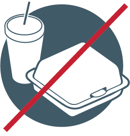 icon indicating no to-go containers allowed in recycling