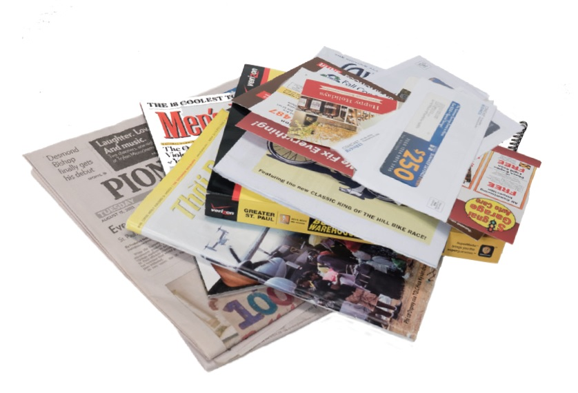 pile of papers (newspaper, mail, magazines, etc)