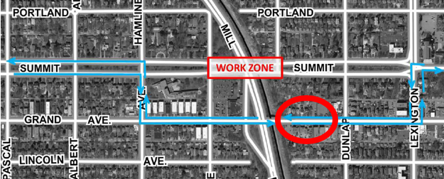 Map of vehicle detours related to Summit Ave bridge construction with a red circle indicating parking allowed on Grand Ave between Dunlap and Ayd Mill bridge