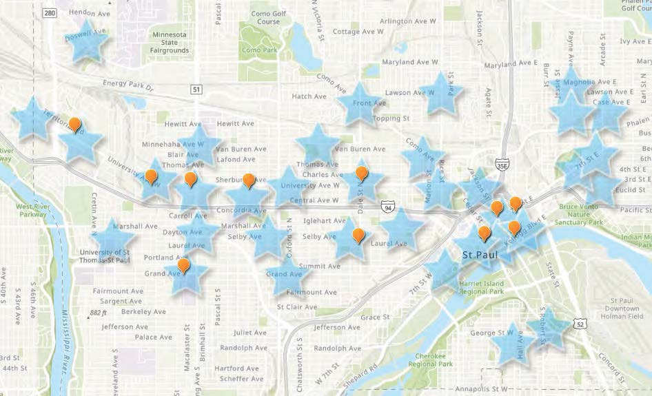 Image of map showing general Saint Paul charging hub locations.