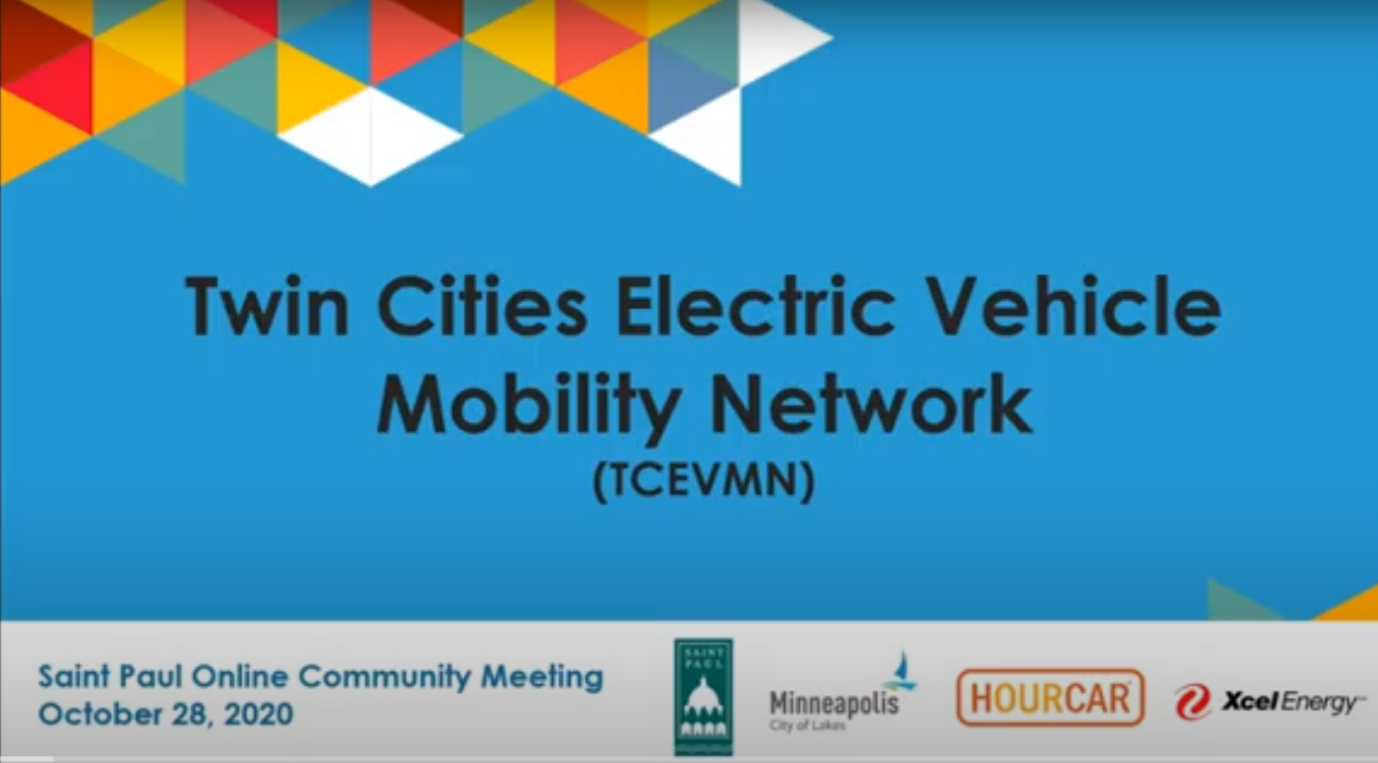 Image of front page of slide deck for Saint Paul Online Community Meeting for the Twin Cities Electric Vehicle Mobility Network