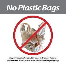 Image of a Recycling Sticker Saying Not to Put Plastic Bags in the Recycling